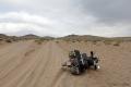 Erster Umfaller im Sand - Nix passiert aber das Motorrad mit Gepäck im Sand wieder hochzuwuchten ist gar nicht so einfach